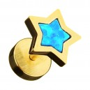 Gold Anodized 316L Steel Fake Earlobe Plug Stud w/ Blue Synthetic Opal Star