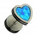 Faux Plug Acier 316L Métallisé Coeur Opale Synthétique Bleu