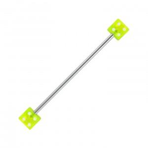 Piercing Industriel Barbell 14G Acrylique Deux Dés Verts