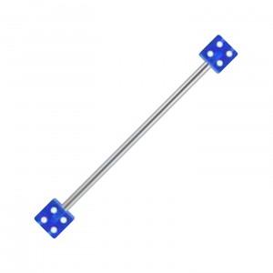 Piercing Industriel Barbell 14G Acrylique Deux Dés Bleus Foncé