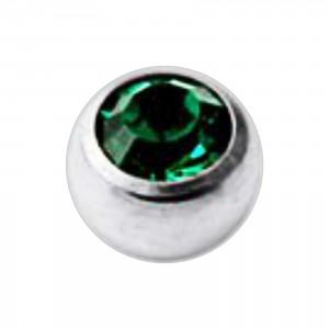 Boule Piercing Titane Grade 23 Pierreries avec Strass Vert Foncé
