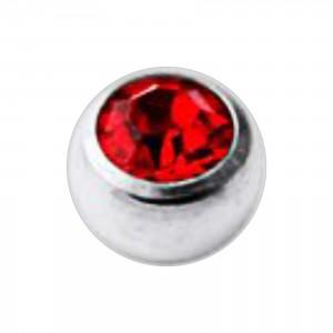 Boule Piercing Titane Grade 23 Pierreries avec Strass Rouge