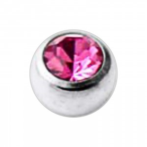 Jeweled Grade 23 Titanium Piercing Replacement Ball w/ Pink Strass
