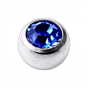 Boule Piercing Titane Grade 23 Pierreries avec Strass Bleu Foncé