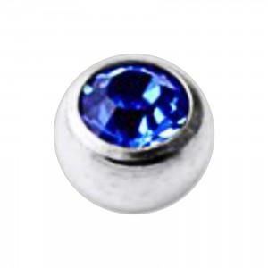 Jeweled Grade 23 Titanium Piercing Replacement Ball w/ Dark Blue Strass