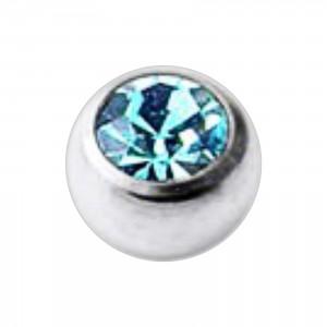 Boule Piercing Titane Grade 23 Pierreries avec Strass Turquoise
