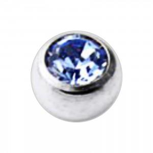 Boule Piercing Titane Grade 23 Pierreries avec Strass Bleu Clair