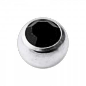 Boule Piercing Titane Grade 23 Pierreries avec Strass Noir