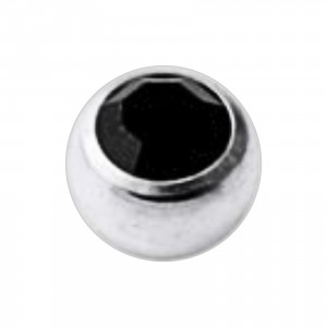 Piercing Kugel Titan Grad 23 Geschmückt mit Strass Schwarz