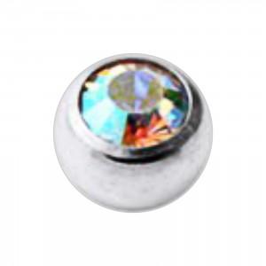 Jeweled Grade 23 Titanium Piercing Replacement Ball w/ Rainbow Strass