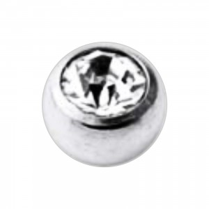 Boule Piercing Titane Grade 23 Pierreries avec Strass Blanc