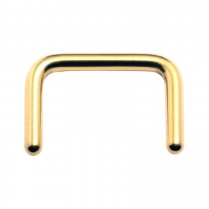 Gold Anodized Straight Retainer Septum Piercing Ring
