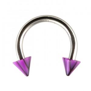 Piercing Fer à Cheval Acrylique Fissures Noir / Violet pas cher