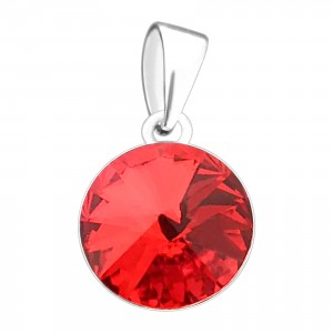 Pendentif Argent Massif 925 Strass 11 mm Rond Rouge