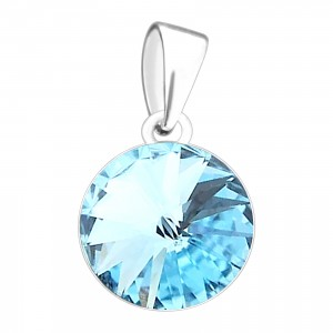 Pendentif Argent Massif 925 Strass 11 mm Rond Turquoise