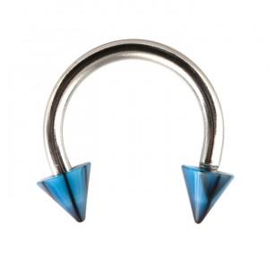 Piercing Fer à Cheval Acrylique Fissures Noir / Bleu pas cher