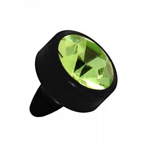 Embout Piercing Push-Fit Seul Bioflex Noir Strass Vert Clair