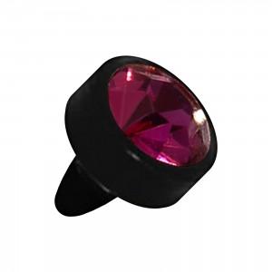 Embout Piercing Push-Fit Seul Bioflex Noir Strass Violet