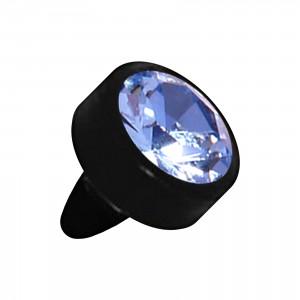 Embout Piercing Push-Fit Seul Bioflex Noir Strass Bleu Clair