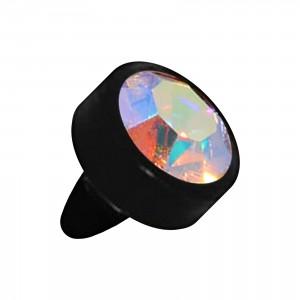 Embout Piercing Push-Fit Seul Bioflex Noir Strass Multicolore