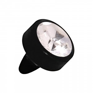 Embout Piercing Push-Fit Seul Bioflex Noir Strass Blanc