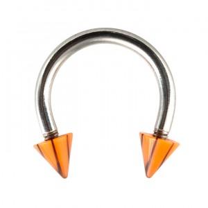 Piercing Fer à Cheval Acrylique Fissures Noir / Orange pas cher