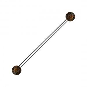 316L Steel Industrial Piercing 14G Barbell w/ Palm Wood Balls