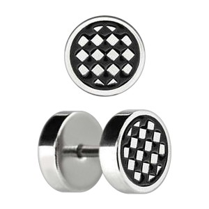 Checker Board Etched 316L Steel Earlobe Fake Plug Stud Ring