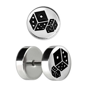 Two Dices Etched 316L Steel Earlobe Fake Plug Stud Ring