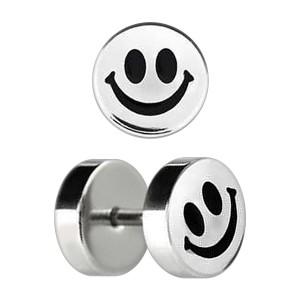 Smiley Etched 316L Steel Earlobe Fake Plug Stud Ring
