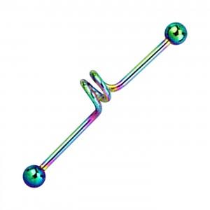 Piercing Industriel Spirale Anodisé Multicolore Boules