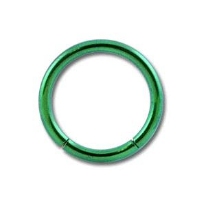 Grade 23 Titanium Labret / Segment Ring w/ Green Anodization