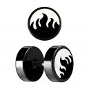 Fire Laser-Cut Black Anodized Ear Fake Plug Stud Ring