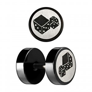 Two Dices Laser-Cut Black Anodized Ear Fake Plug Stud Ring