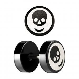 Skull Laser-Cut Black Anodized Ear Fake Plug Stud Ring