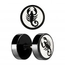 Scorpion Laser-Cut Black Anodized Ear Fake Plug Stud Ring