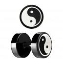Yin-Yang Laser-Cut Black Anodized Ear Fake Plug Stud Ring