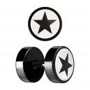 Star Laser-Cut Black Anodized Ear Fake Plug Stud Ring