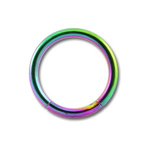 Grade 23 Titanium Labret / Segment Ring w/ Rainbow Anodization