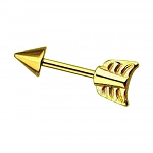 Gold Anodized Arrow 316L Steel Tragus/Helix Piercing Jewel Bar