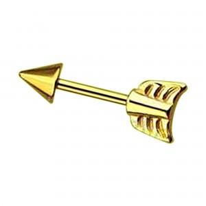 Schmuck Tragus / Helix Piercing Stahl 316L Eloxiert Golden Pfeil
