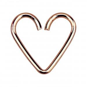 Coeur Piercing Tragus / Hélix Argent 925 Plaqué Or Rose