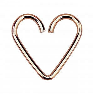 Rose Gold Plated 925 Silver Heartilage Helix Ring Heart