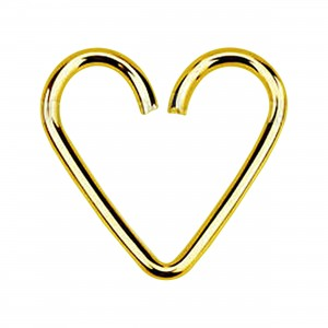 18K Gold Plated 925 Silver Heartilage Helix Ring Heart