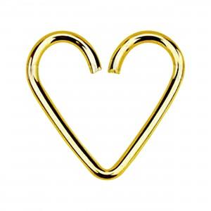 Corazón Piercing Heartilage Hélix Plata 925 Chapado Oro de 18K