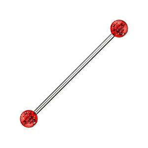 Piercing Industriel Acrylique Scintillant Boules Rouges