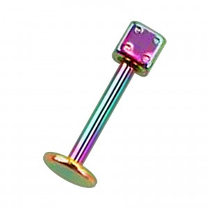 Rainbow Anodized Lip / Labret Bar Stud Ring w/ Dice