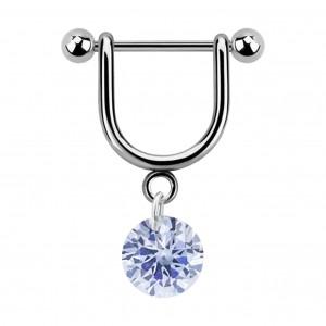 Bijou Piercing Hélix Etrier Pendant Zircone Cubique Rond Bleu