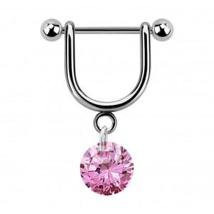 Stirrup Helix Piercing Ring Bar Jewel w/ Dangling Pink Round Cubic Zirconia