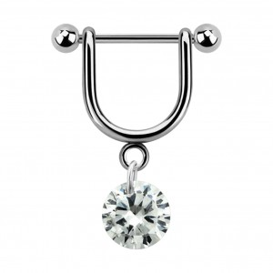 Stirrup Helix Piercing Ring Bar Jewel w/ Dangling White Round Cubic Zirconia